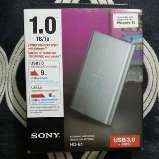 SONY HD-E1 1TB External Hard Drive 3.0 (SEALED)