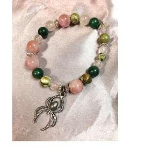 Brand New Handmade Semi Precious stones bracelet with pewter spider charm