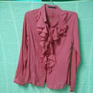 Pink ruffled blouse / polo