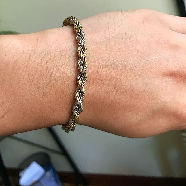 18k Tri Colors Italian Gold Chain Bracelet