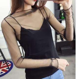 [Just arrive] Long sleeve mesh top / korean version long sleeved black mesh top / mesh sheer top / Harajuku Mesh Net T Shirt  / mesh shirt