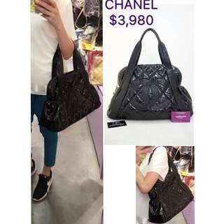 80% New CHANEL A46440 黑色 樹脂皮 CC Logo 手提袋 肩背袋 手袋 Black Vinyl Handbag