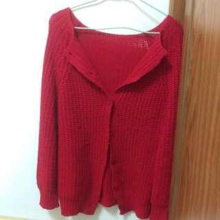 🚚 紅色毛衣外套