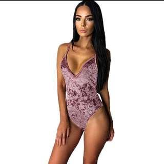 Women's Velour Velvet Look Bodysuit