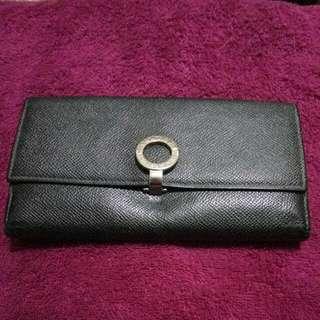 Preloved BULGARI long Black Wallet (functional)