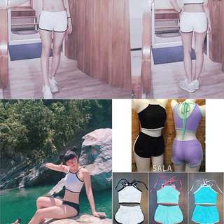 SALA-SPORT雙配色滾邊 削肩後綁帶褲型兩件式泳衣