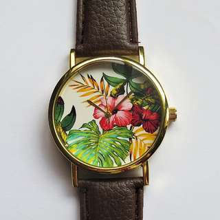 Tropical Hibiscus Watch, Unisex, Men's Watch, Women's Watch, Handmade, Vintage Style Watch
