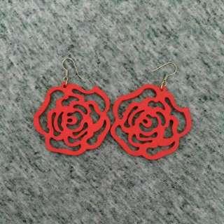 Wooden Rose Earrings