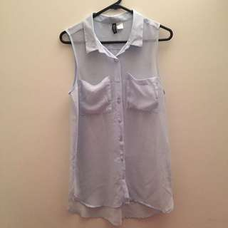 H&M Light blue chiffon Top