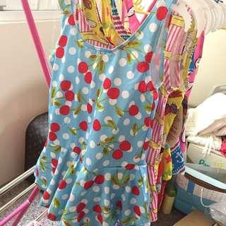 女童泳衣 隨機 藍色櫻桃🍒游泳圈 女孩寶寶泳裝背心連身泳裙