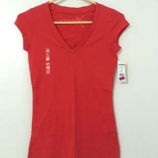 Plain Red V-Neck Tee Shirt