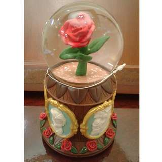 Beauty and the Beast Enchanted Rose Musical Snow Globe