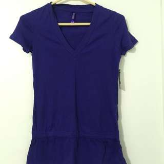 Purple V-Neck Shirt With Cinching