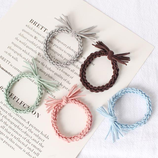 韓國馬卡龍編織髮圈