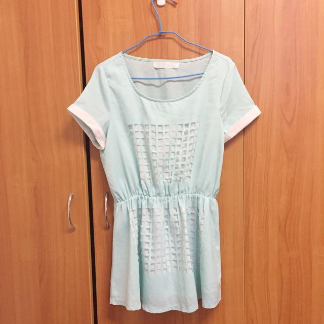 湖水綠 特殊鏤空連身裙