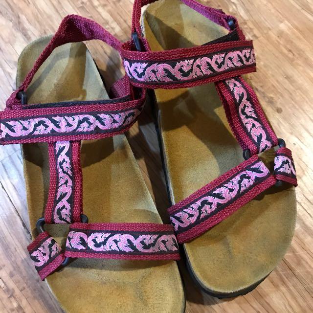 復古 類勃肯 涼鞋 紅粉花色 古著 24-24.5號#我有涼鞋要賣