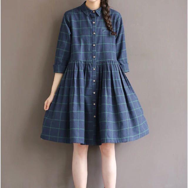 現貨 熱賣 軟妹 長洋裝 日系 百搭 森女 洋裝 可愛 格子裙 假兩件