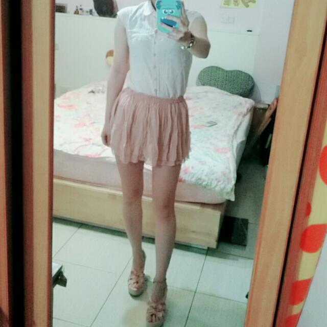 韓 粉紅皺褶小短裙 Ingni Hm Zara