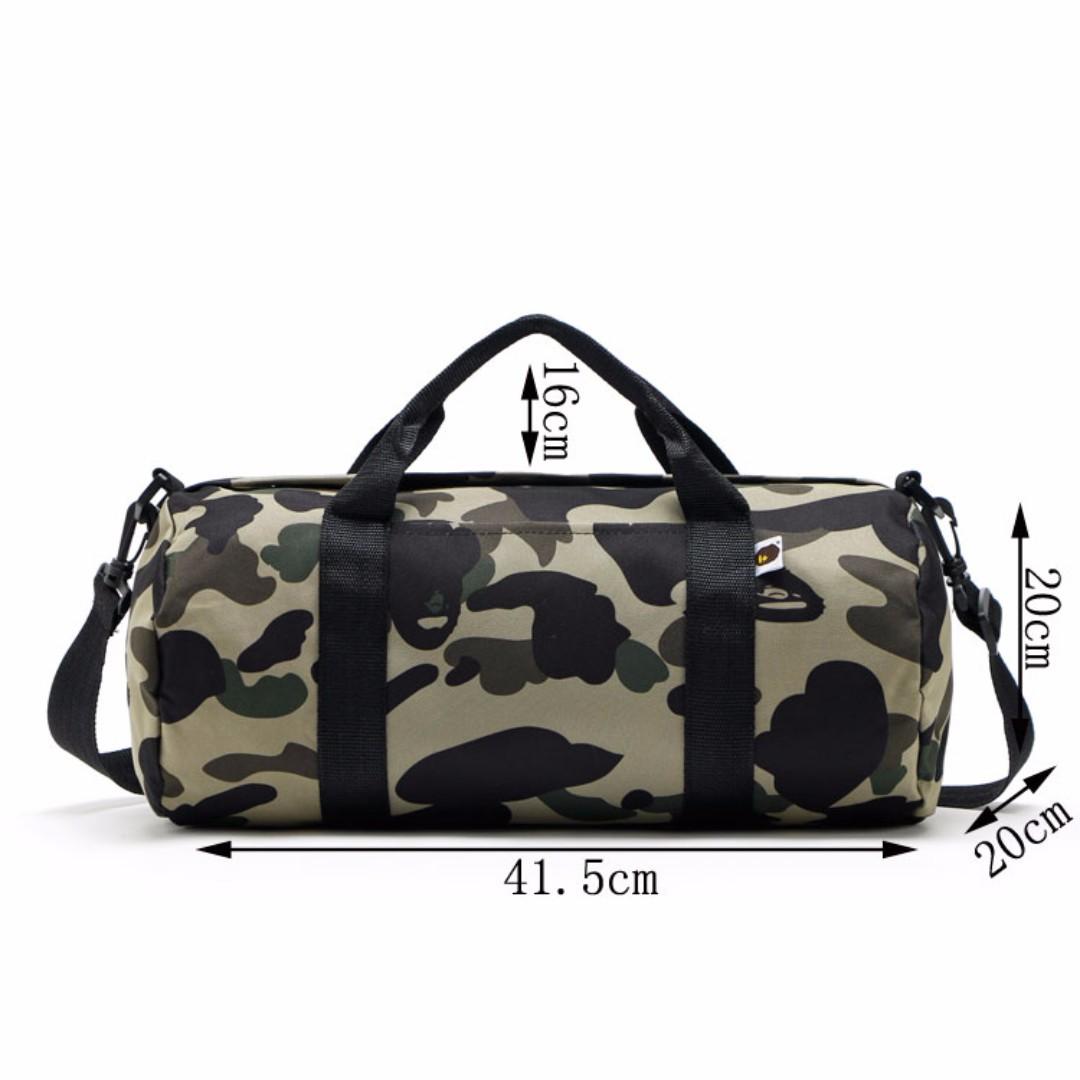 bc1fbbf966ff A Bathing Ape BAPE - Green Camouflage Gym Duffle Bag