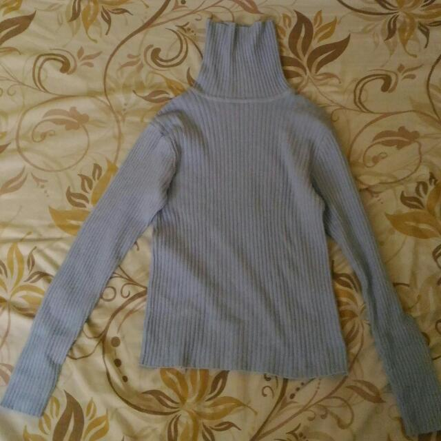 Baby Blue Turtle Neck Blouse