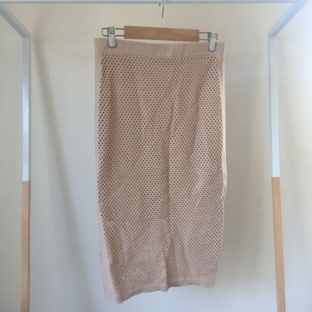 Bardot High Waisted Mesh Skirt In Nude