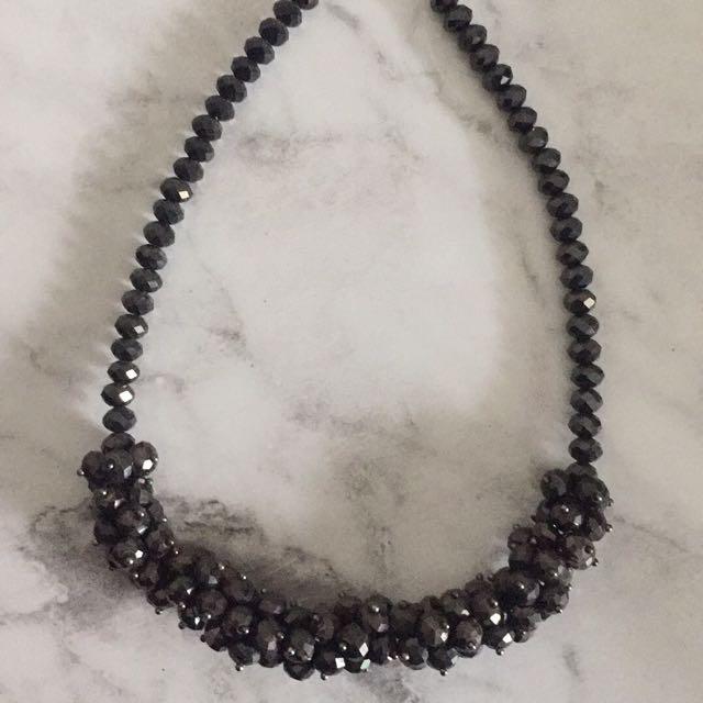Beautiful Beaded Black Statement Necklace