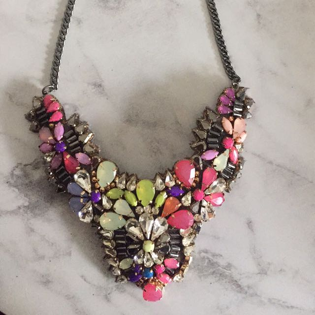 Beautiful Jewelled Flower statement necklace from Accessorize