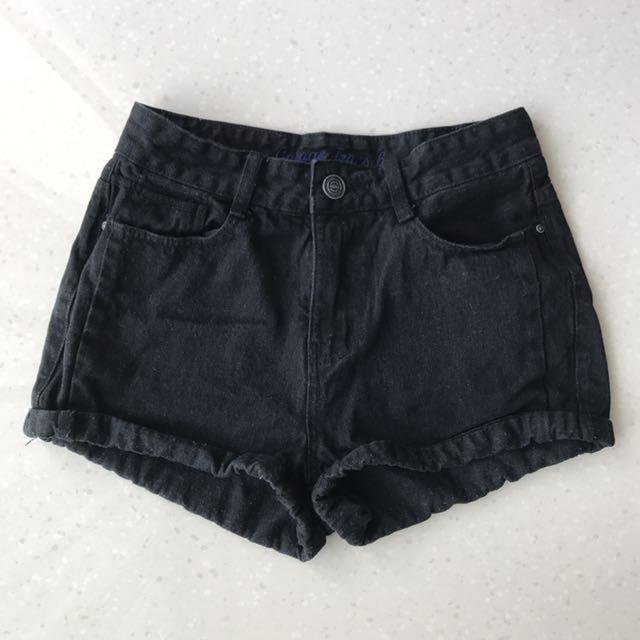 Black Denim High Waisted Shorts