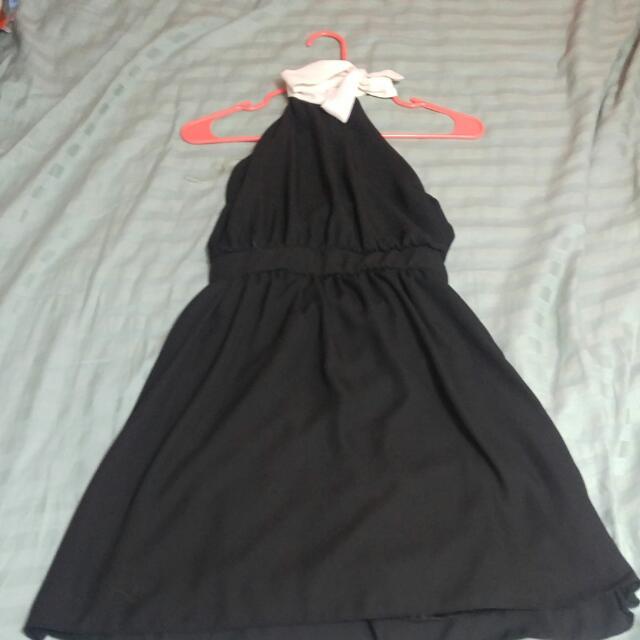 Black Halter Dress With White Collar