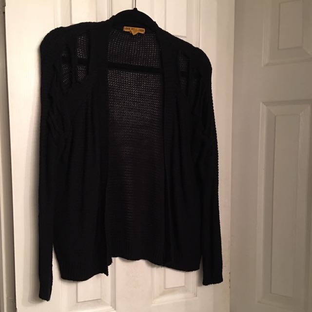 Black Knitted Sweater With Peep Hole Shoulders