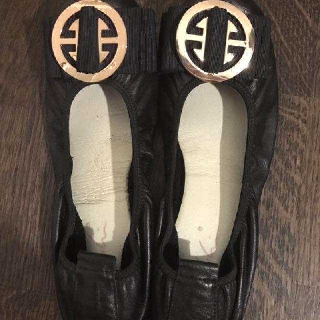 Black Leather Ballet Flat