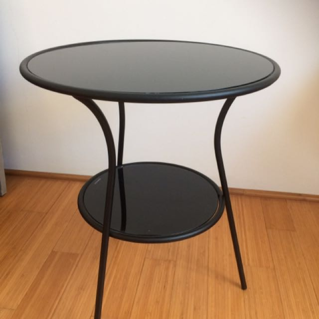 Black Tempered Glass Side Table