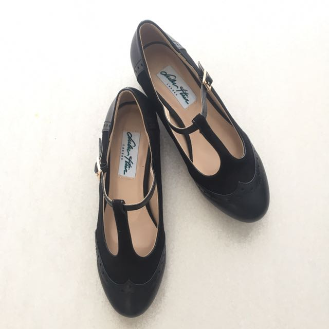 Black T-Strap Oxford Heels