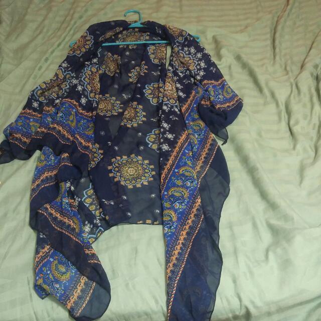 Blue & Orange No-sleeve Cardigan