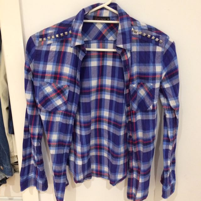 Blue Studded Flannel