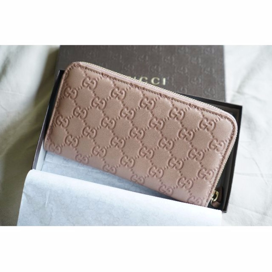 74bc0d31bbed BNIB 100% Authentic Gucci Pink Nude Leather Wallet, Women's Fashion ...