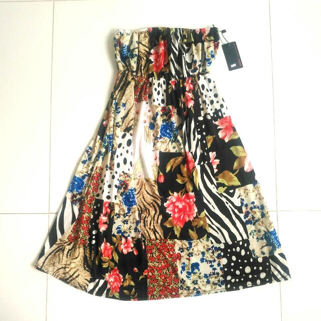 6c2ee18437 BNWT Purpur Tube Floral Patches Dress With Red Blue Flowers Polka ...