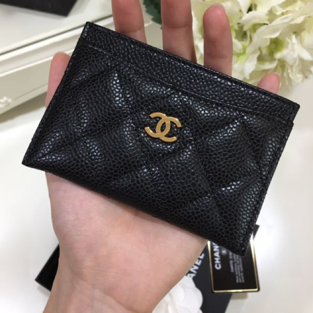 04894a7faedb SOLD) Brand New Condition Chanel Classic Card Holder in Black Caviar ...