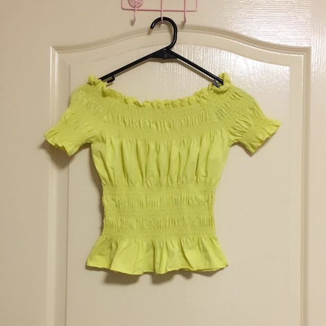 Brand New Yellow Off Shoulder Top