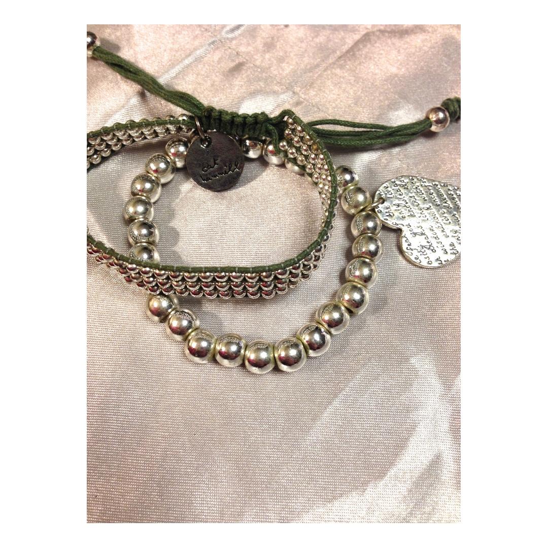 Cat Hammill Silver bead Heart & Rope beaded bracelets - A set of 2
