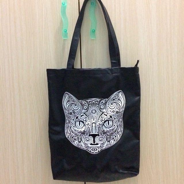 Cat Printed Tote Bag