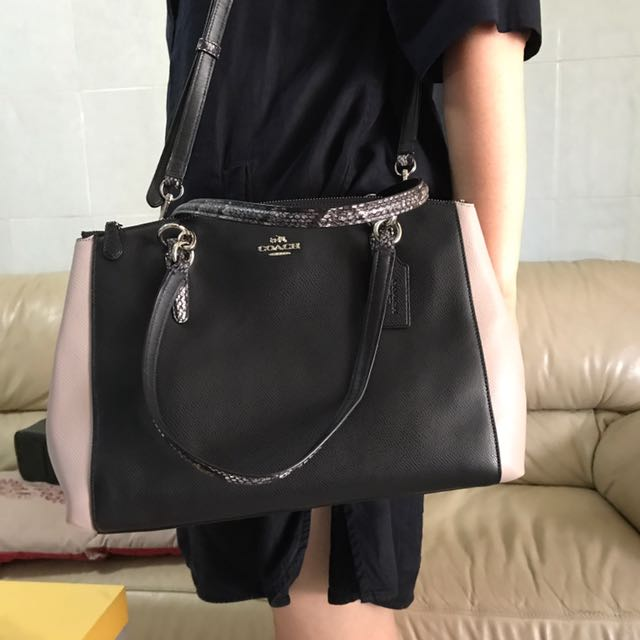 Coach Bag Black And Cream Color And Snake Skin