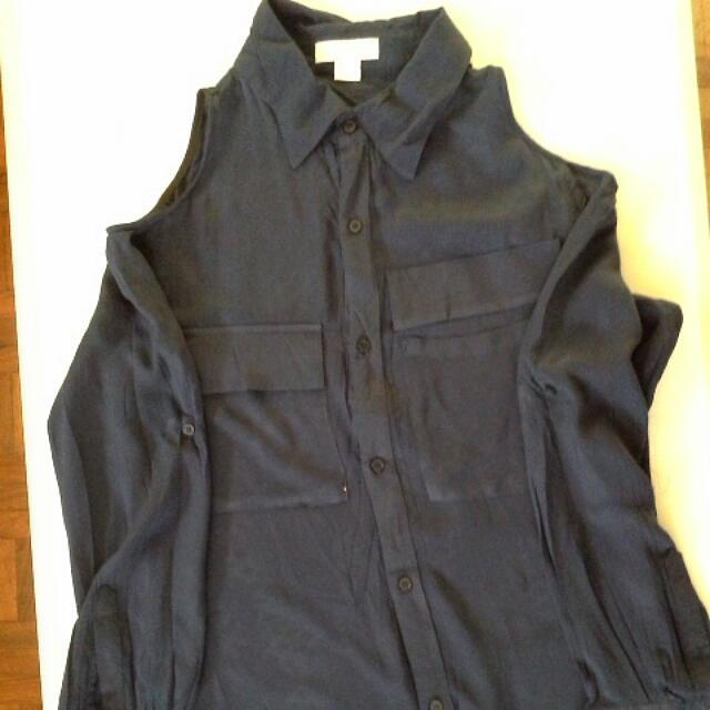 Cotton On Dark Blue Long Sleeved Blouse
