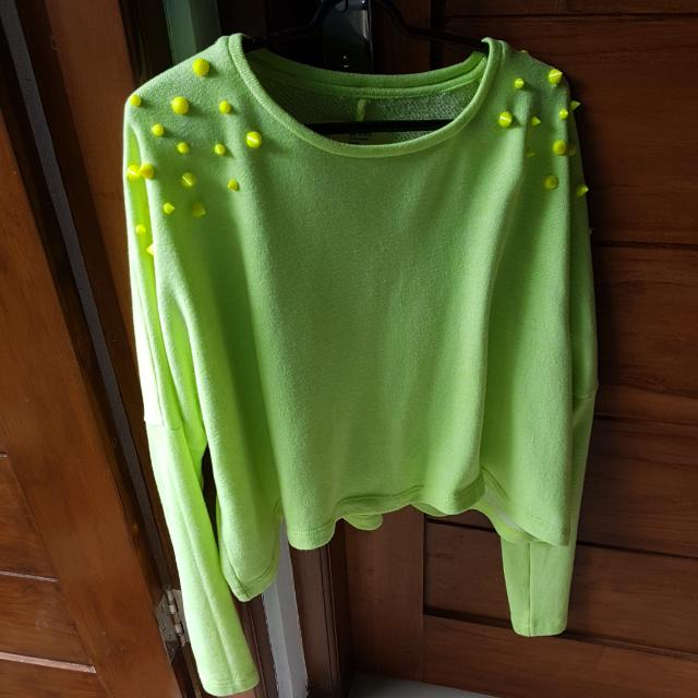 Crop Sweater XSML green Neon
