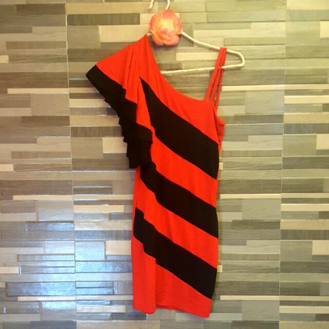 Dress One Shoulder (Red And Black)