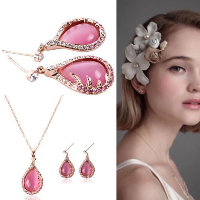 EED Rose Gold Plated Pink Rhinestone Leaf Pendant Dangle Jewelry Set (Size: One Size, Color: Pink).