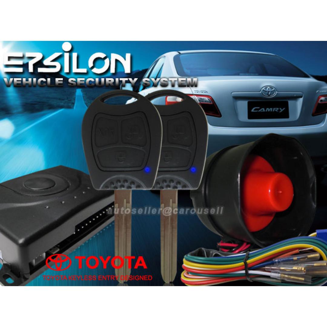 EPSILON CAR ALARM SYSTEM w TOYOTA KEYLESS ENTRY DESIGNED