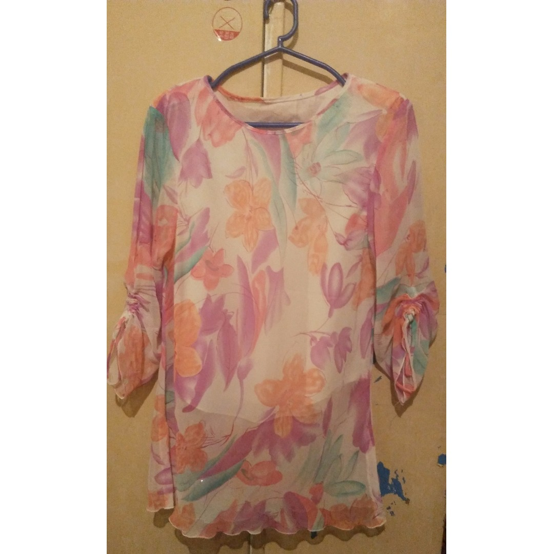 Floral Chiffon Top Large