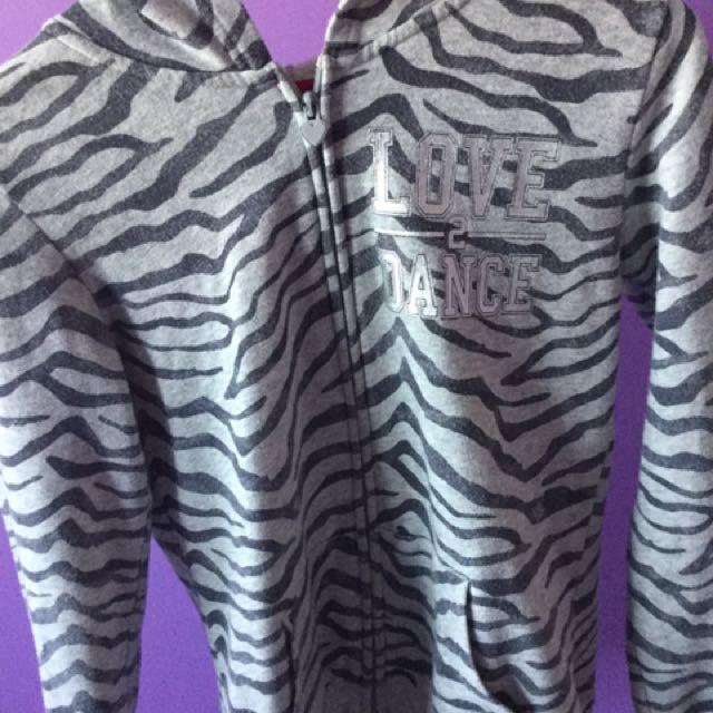 Gray Zebra Print Zip Up Hoodie