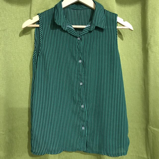 Green stripes Button Down Top